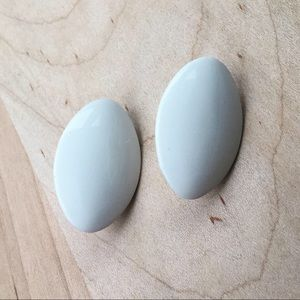 Vintage 80's Chic Oval Large Post Earrings White